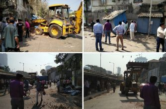 BMC officials razing the shops next to Mathuradas Mill compound in Lower Parel