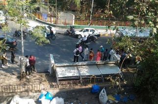 The collapsed bus stop at the end of Tilak Bridge in Dadar. Picture Courtesy: Surya V Ravane