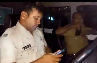 Sanap (left) was suspended from duty on Tuesday (screengrab from Mirror Now footage)
