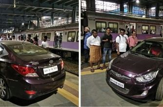 The cricketer drove on to platform 1 of Andheri Station