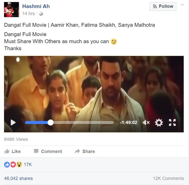 Dangal leaked on Facebook by Pakistani national within hours of release