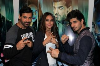 Actors John Abraham, Tahir Raj Bhasin and Sonakshi Sinha during the promotion of film Force 2. Picture: IANS