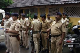 Cops stationed near the school in Uran, close to the Naval base. Picture: ANI