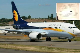 Jet Airways Flight 9W-339 departed from Mumbai around 2:55 am and landed in Ahmedabad around 3:45 am (Representational Image. Inset: The letter found onboard the plane, Courtesy: ANI)