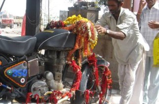 In a country with 33 crore gods, even a Royal Enfield bullet is worshipped