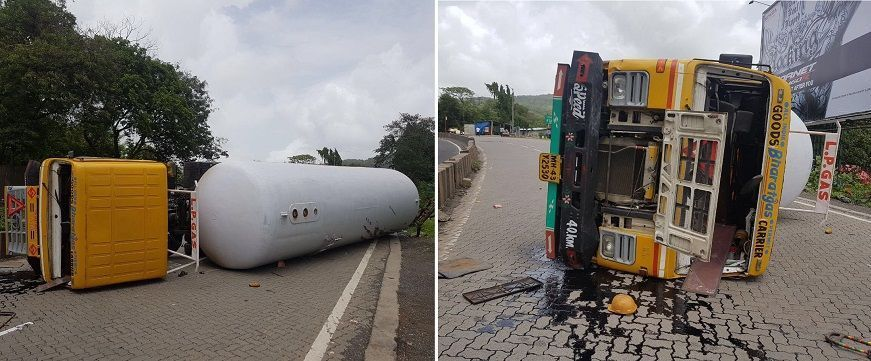 In Pics: Tanker overturns on Ghodbunder Road, vehicular movement halted due to gas leak 2