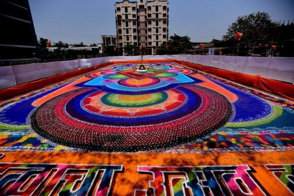 In Picture: 28 artists create 15,000 sq.ft rangoli in Kurla ahead of Gudi Padwa 2