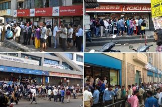 People line up outside banks to exchange old currency