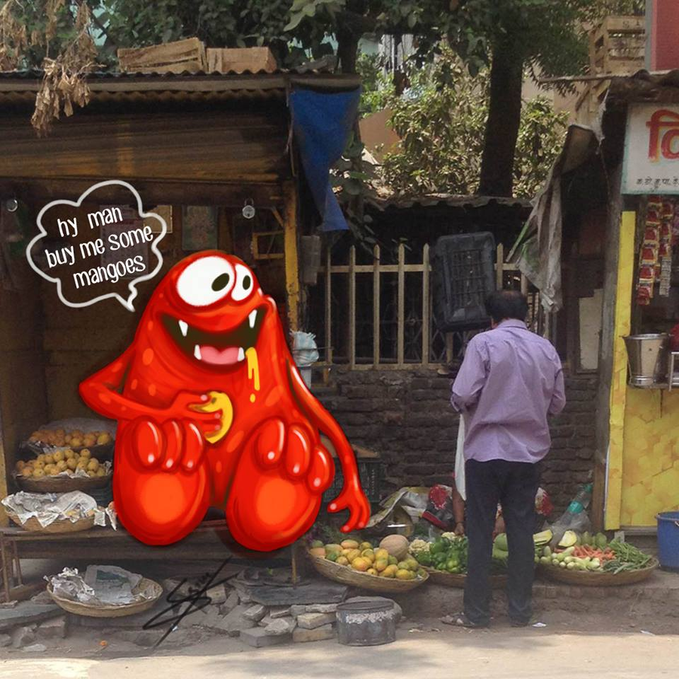 In pictures: Artist adds 'monsters' to daily life in Mumbai 8