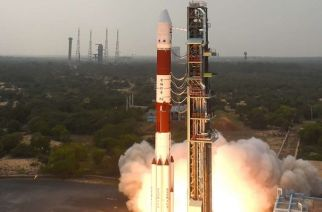 The PSLV-C36 at launch. Picture: ISRO