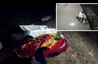 The suitcase in which the body was found (inset: man carrying the suitcase caught on CCTV)