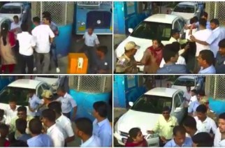 The accused were arrested following the incident (Screengrabs from the CCTV footage)