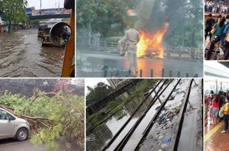 The heavy showers and the subsequent waterlogging affected both road and rail traffic on Tuesday morning (Picture attributed to respective owners below)