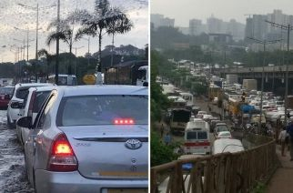 Areas surrounding JVLR were majorly affected. Picture Courtesy: @kyronalmeida and @lestonmark