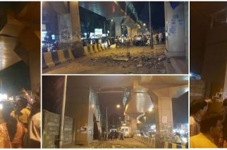 Pictures of the collapses Dahisar (W) skywalk. Picture Courtesy: Sudesh Nayar