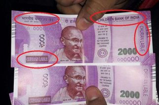 The fake note that was dispensed by the SBI ATM in Sangam Vihar