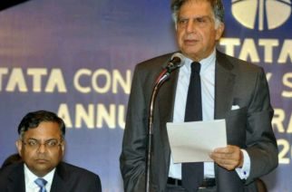 Chairman Emeritus of Tata Sons Ratan Tata and N. Chandrasekaran (CEO & MD, TCS). Picture Courtesy: The Hindu