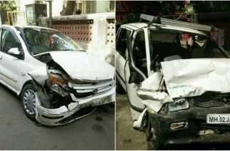 Uber cab (left) which rammed into  Maruti Zen (right)