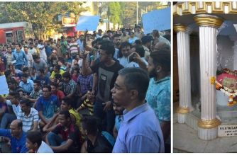 Locals protesting over the desecration of Mother Mary's statue in Kurla, Mumbai. Picture Courtesy: Alicia Fernandes