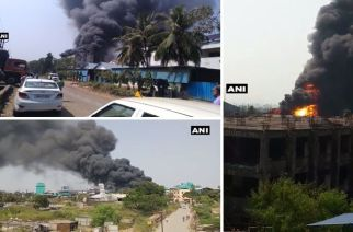 The fire is believed to have originated at a foam factory in Taloja MIDC (Picture Courtesy: ANI)