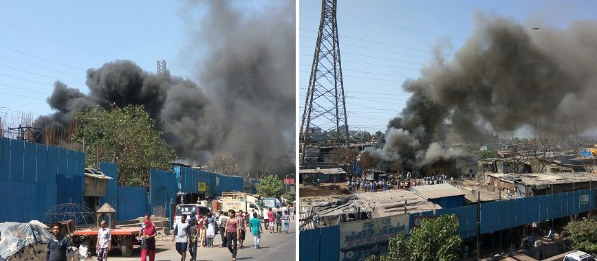 Video: Massive fire breaks out at godown near Chembur slum along Eastern Express Highway