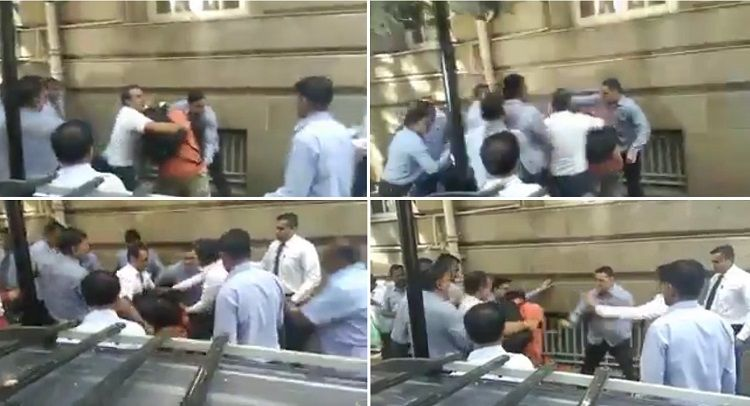 Video: Security staff assaults journalists outside Bombay House, Tata Sons issues apology