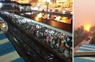 The tree branch fell on the OHE between Mahalaxmi and Lower Parel stations around 6:30 pm (Left: Crowd at Dadar Station, Courtesy: TheLazzzyO/Twitter)