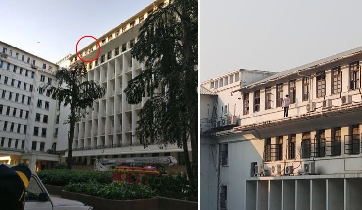 Video: Youth threatens to jump off Mantralaya building, ministers try to negotiate
