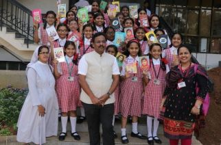 State Education Minister Vinod Tawde with students of St. Annes High School (representational image)
