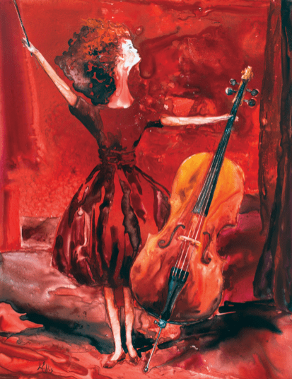 prodigy with her violoncello, jean ellis newman, art