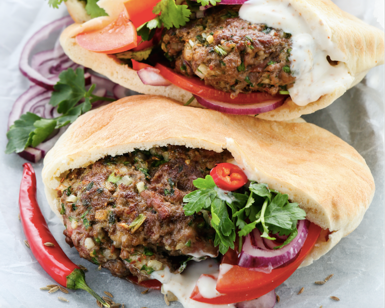 Turkish lamb pitta burgers