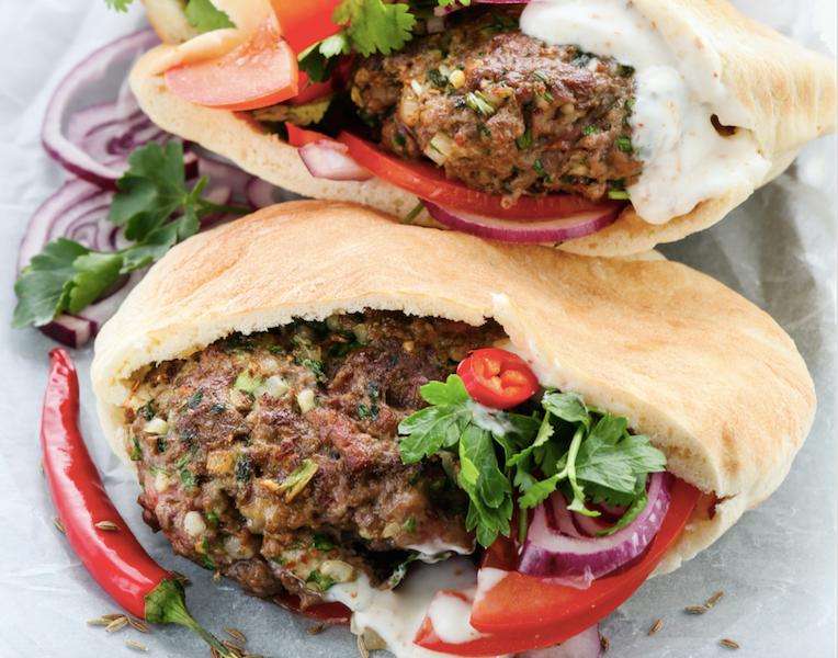 Turkish lamb pitta burgers