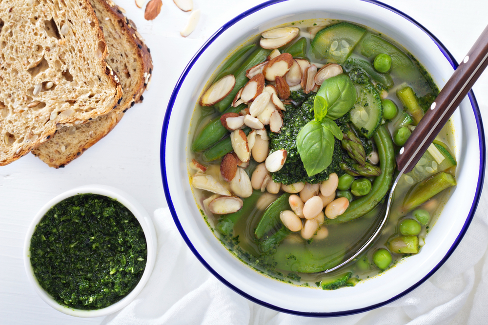 Recipe Spring Vegetable Soup Pesto Beans
