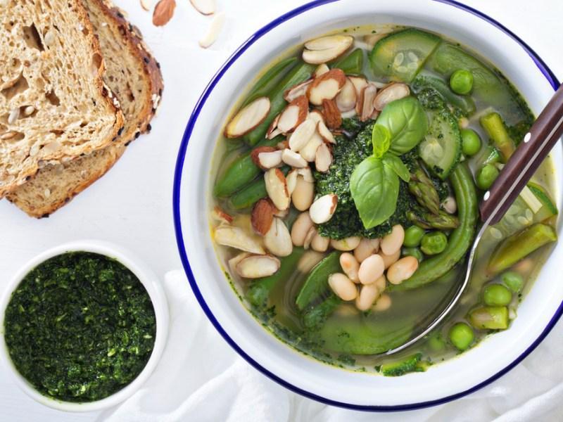 Recipe Spring Vegetable Soup Pesto Beans