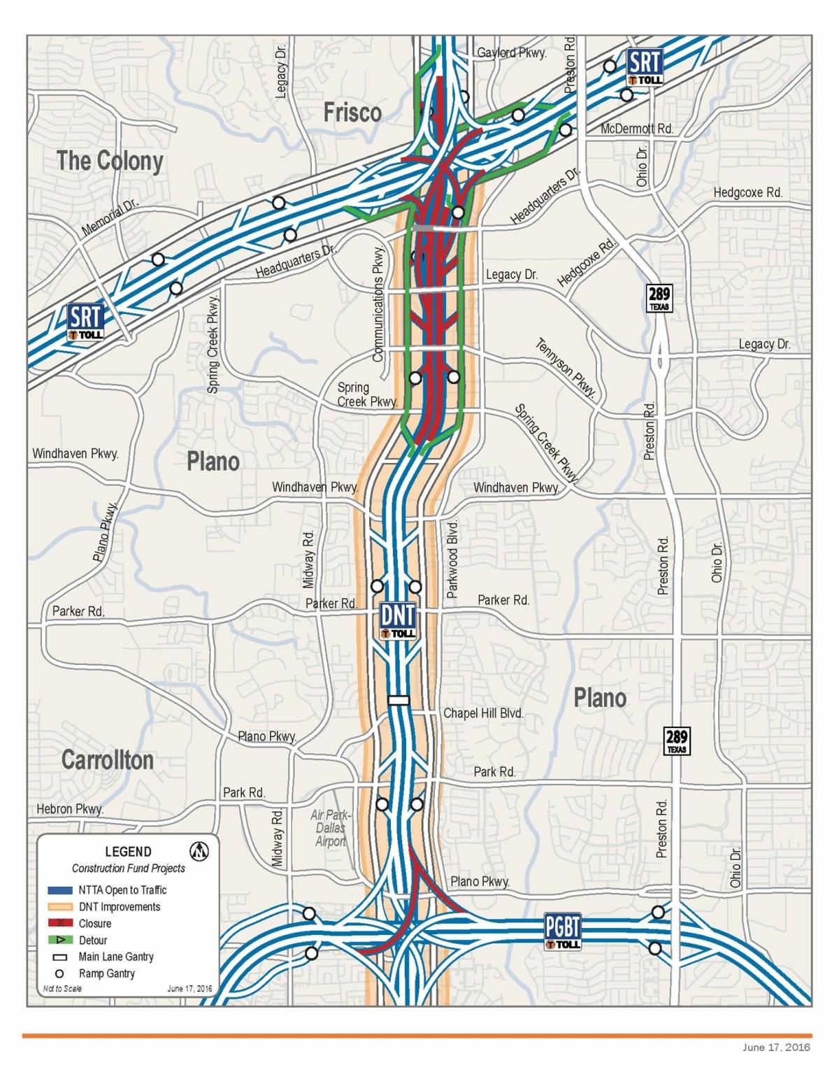 Dallas North Tollway closure June 2016