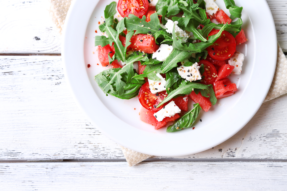 recipe, watermelon arugula salad