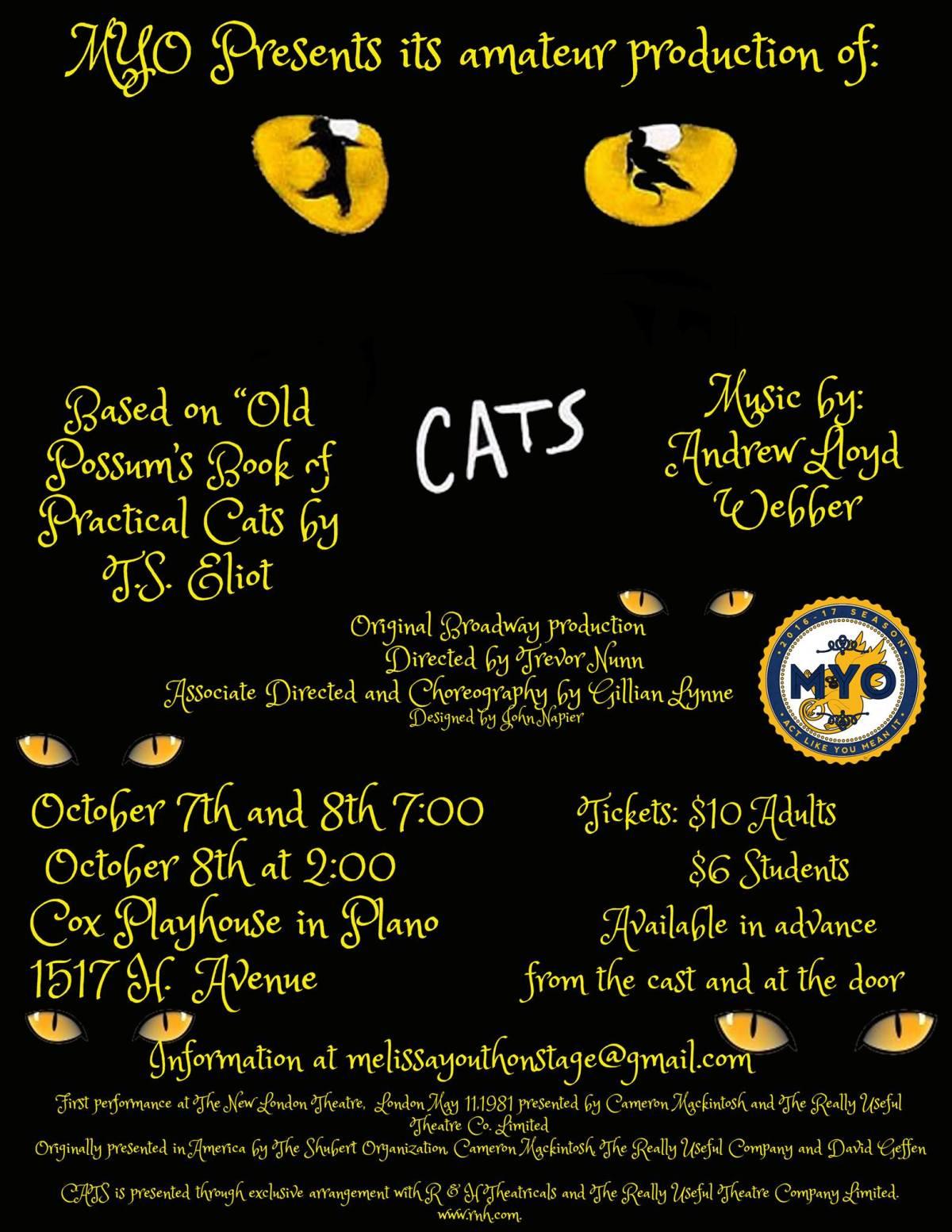 myo youth theatre cats plano