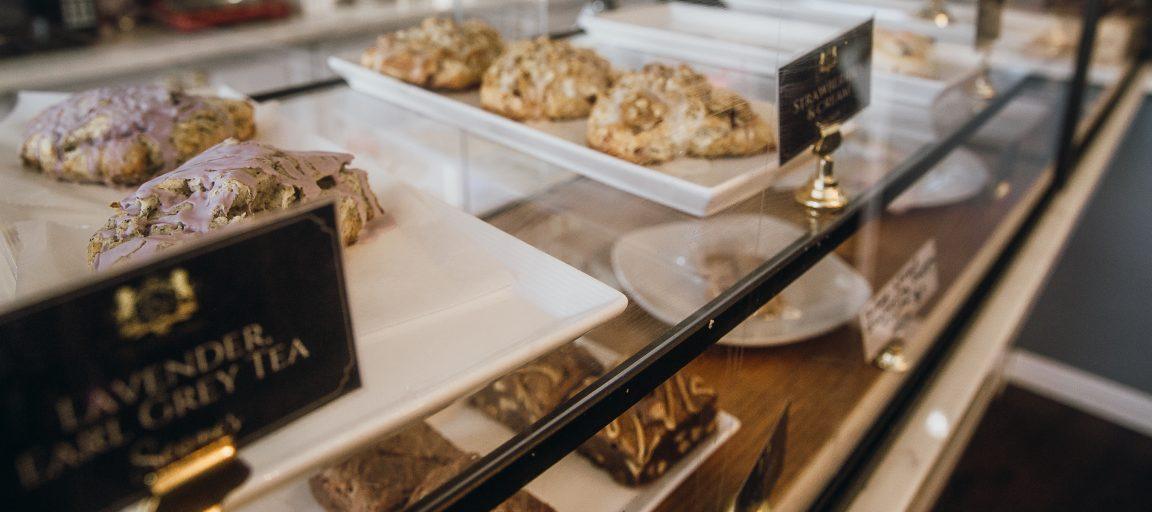 london baker display case elizabeth rowe lavender earl grey scones