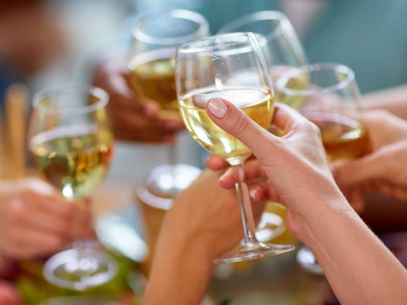 toasting wine glasses