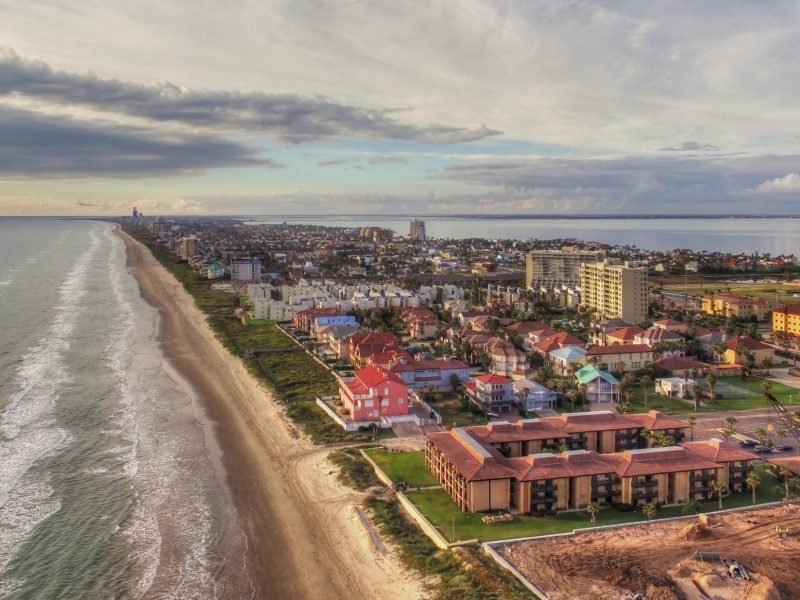aerial of south padre island texas