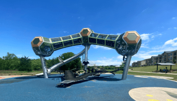 Space Station playground at McCord in Little Elm is one of the best playgrounds around. Best suited for older kids, 5 and above.
