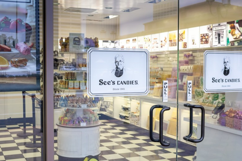 a see's candies store is sheer delight for those seeking a gourmet candy fix.   shutterstock