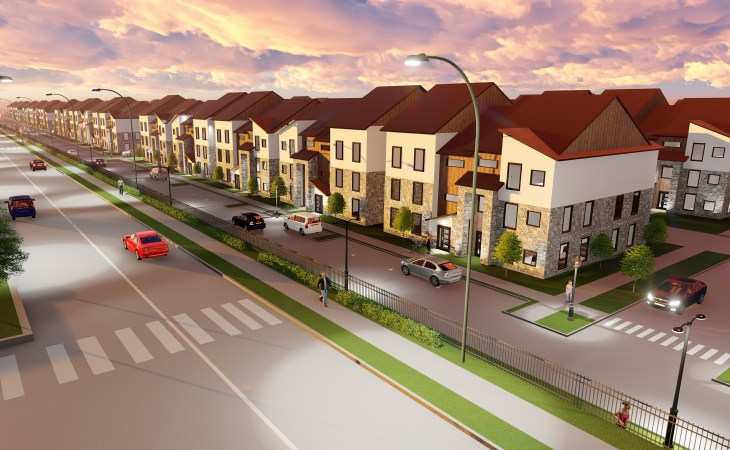 a glance at the townhouses alongside alma street, coming soon to collin creek