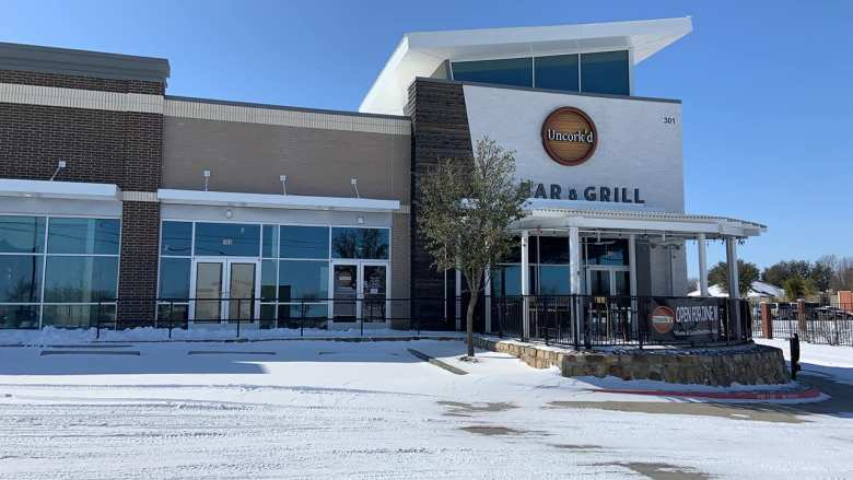 wow! this was the uncork'd patio in mckinney during the blizzard of february 2021. still beautiful! | courtesy of uncork'd