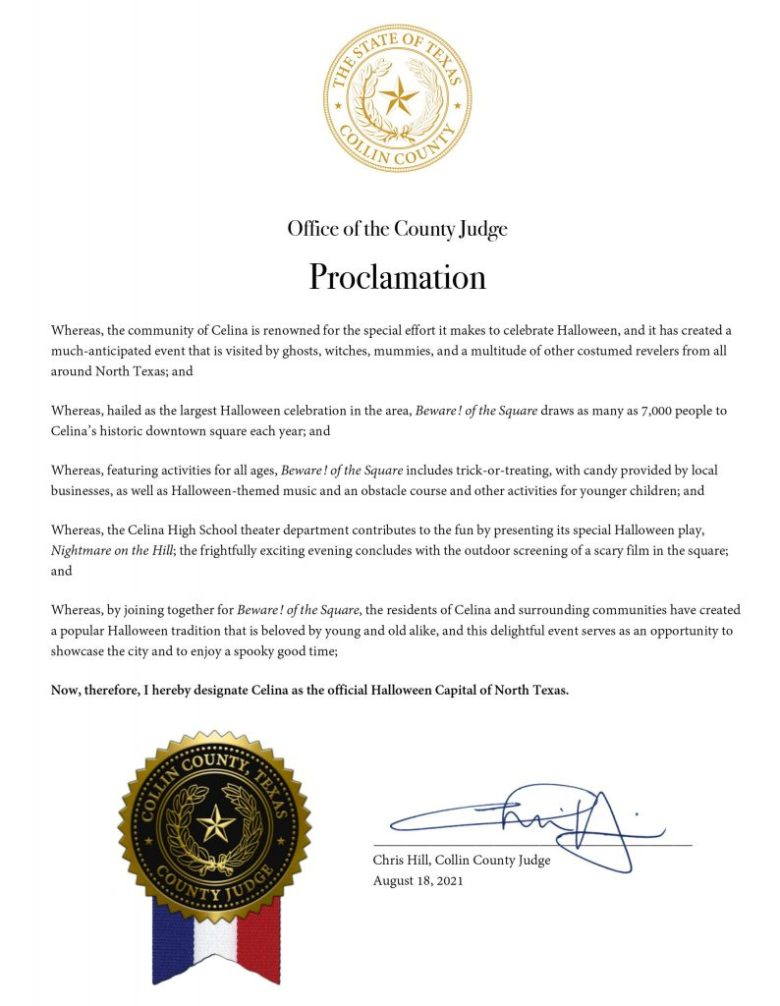hear ye, hear ye! celina is officially the halloween capital of north texas! judge chris hill said so.