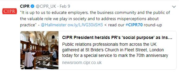 Tweet by CIPR about PR professionals highlighting their valuable role