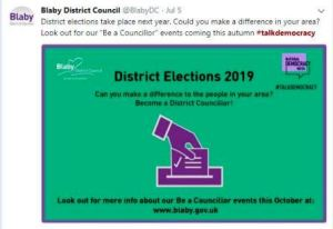 Blaby District Council Tweet with a graphic showing someone voting and text to encourage to vote in District Elections in 2019
