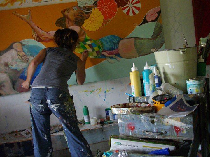 mezza9 painting in studio