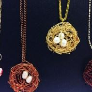 Bird nest necklaces by Elaine Kennedy