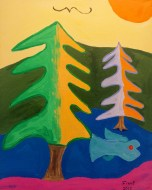 A Sunny Day and Trees by Finny. Hung at Santa Cruz Coffee Roasting downtown.